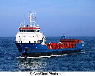 Cargo Ship S - Cargo Vessel underway at sea.