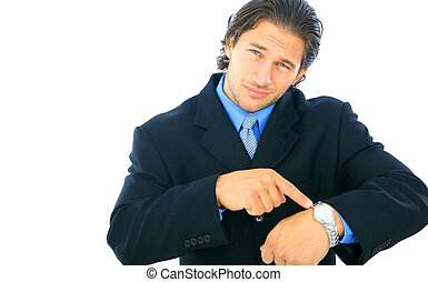 Disappointed Young Male Businessman - isolated caucasian...