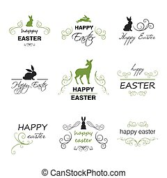 Vector Happy Easter Design Elements - Vector Illustration of...