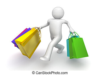 Shopper walking with paper bags (3d isolated on white...