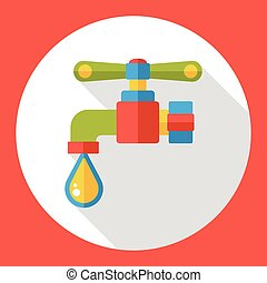 Faucet water flat icon