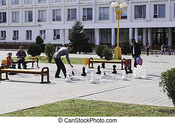 city people play chess