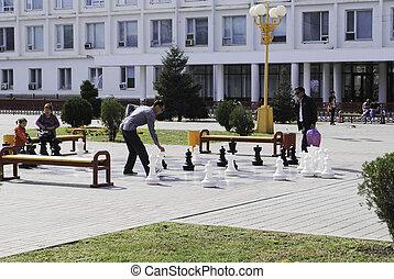 cidade, jogo, xadrez, pessoas