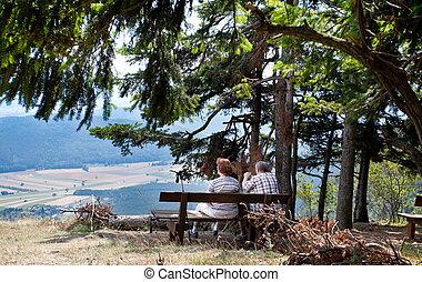 Senior couple on mountain bench