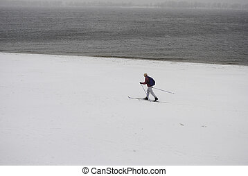 skier on the waterfront