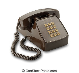 Brown phone, isolated