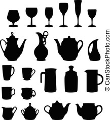 tableware silhouette vector - many different tableware...