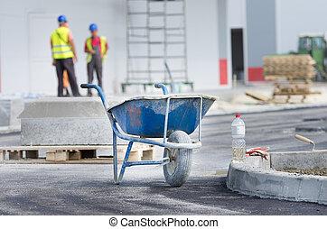 construção, local, carrinho de mão