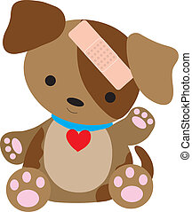 Puppy Bandaid - A cute little puppy is with a bandaid on his...