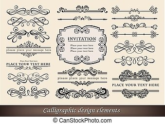 Calligraphic elements - Vector illustration of calligraphic...