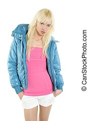 blond young fashion student girl portrait white background