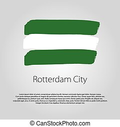 Rotterdam City Flag with colored hand drawn lines in Vector...