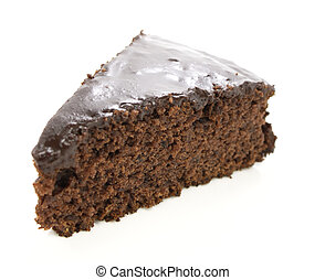 Slice of chocolate cake - A slice of chocolate cake over...