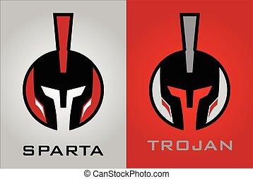 Warrior head. Warrior helmet. Conqueror. Endeavor icon, -...