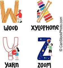 Alphabet letters w to z