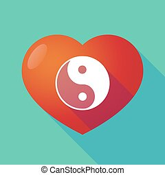 Long shadow red heart with  a ying yang