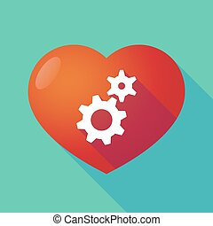 Long shadow red heart with  two gears