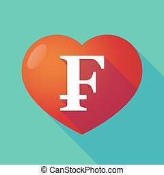 Long shadow red heart with a swiss franc sign - Illustration...
