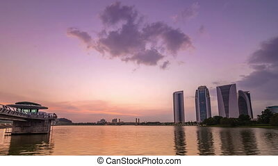 Beautiful Sunset At Putrajaya Lake With Perfect Reflection