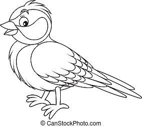 Tomtit - Black and white vector illustration of a titmouse