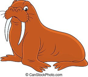 Walrus - Vector illustration of a big brown walrus lying