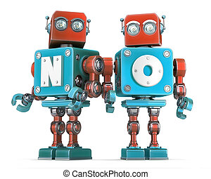 Group of Retro Robots with NO sign. Isolated. Cnotains...