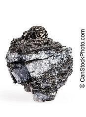 carbón, pirita, aislado, en, blanco,