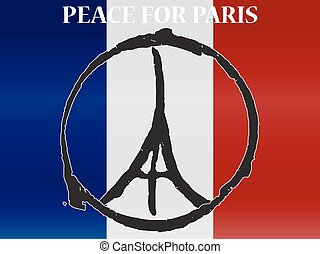 Peace logo at eiffel tower silhouette at background france national flag. pray for paris. vector illustration
