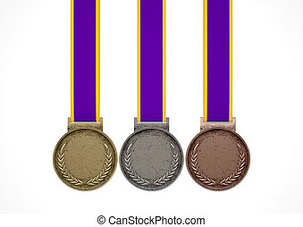 First Second And Third Medals - A set of blank gold, silver...