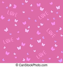 Vector Seamless Cute pattern with butterfly. Valentine's Day with love! Can be used for background, textile pattern fills, scrapbooking, wallpaper.