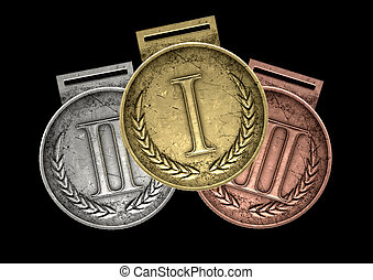 First Second And Third Medals - A closeup set of gold,...