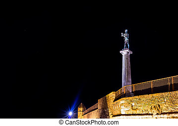 The Victor Monument on Kalemegdan Fortress at night...