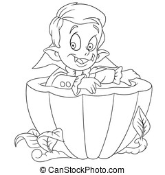 cartoon dracula on halloween - cute little cartoon dracula...