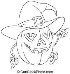 cartoon pumpkin on halloween - evil and frightening cartoon...