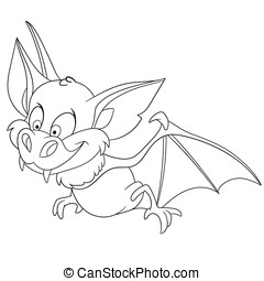 cute cartoon bat - cute funny cartoon bat is hunting on...
