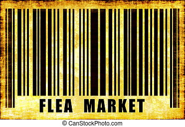 Flea Market Sign on Abstract Art Background