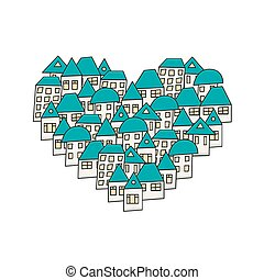 Vector modern House in the form of heart on white