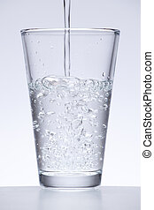 running water or glass of water on white background