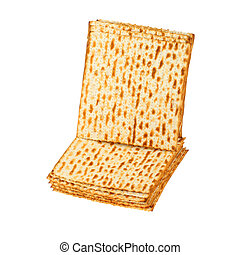 Matzo for pesach pile isolated on white background