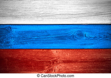 Russian flag - flag of Russia or Russian banner on wooden...