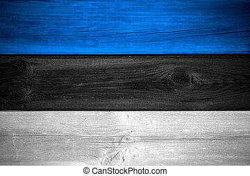 Estonian flag - flag of Estonia or Estonian banner on wooden...
