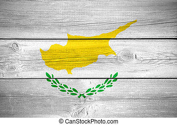 Cypriot flag - flag of Cyprus or Cypriot banner on wooden...