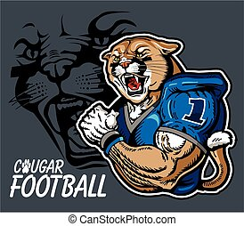 cougar football team design with mascot for school, college...