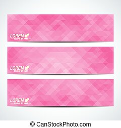 Pink set of vector banners. Background with pink triangles. Web banners, card, vip, certificate, gift, voucher. Modern business stylish design