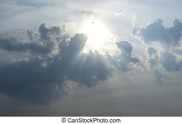 clouds - Bright sun in blue sky with clouds