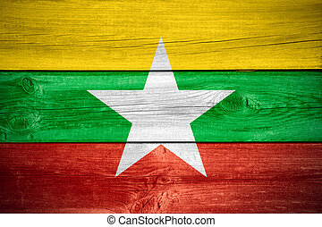 Burmese flag, Myanmar - flag of Burma or Burmese banner on...