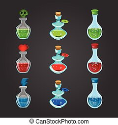 Set bottles with different potions. Game interface...