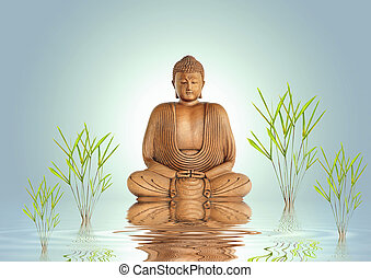 Buddha Tranquility - Buddha in meditation with bamboo leaf...
