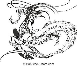 Dragon fish - Illustration of Black Dragon fish. Isolated on...