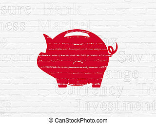 Currency concept: Money Box on wall background